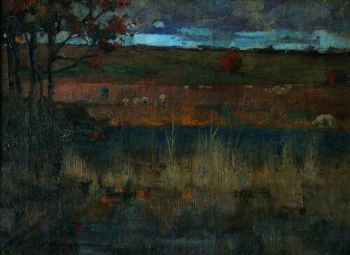 Edward Atkinson Hornel(1864ー1933)「Sheep Grazing in an Autumn Landscape」