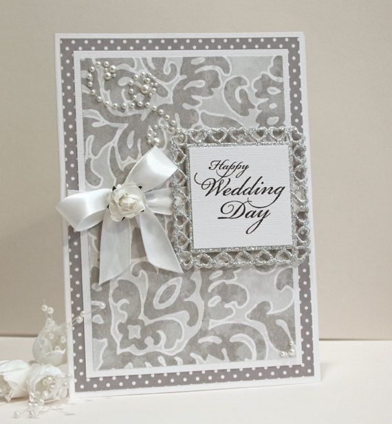 Wedding Card  Handmade Card  SilverGrey and by CardsbyGayelynn, $6.00