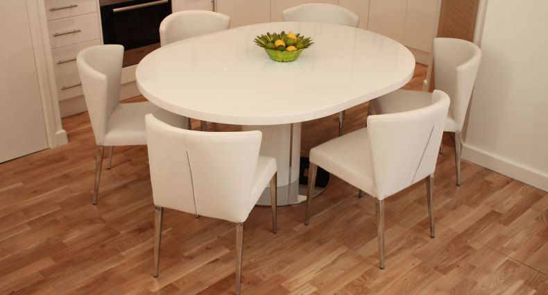 Curva White Gloss Extending Dining Set Expandable Dining Table
