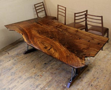 A Claro Walnut Slab And Rebar Dining Table Maybe Not The Rebar
