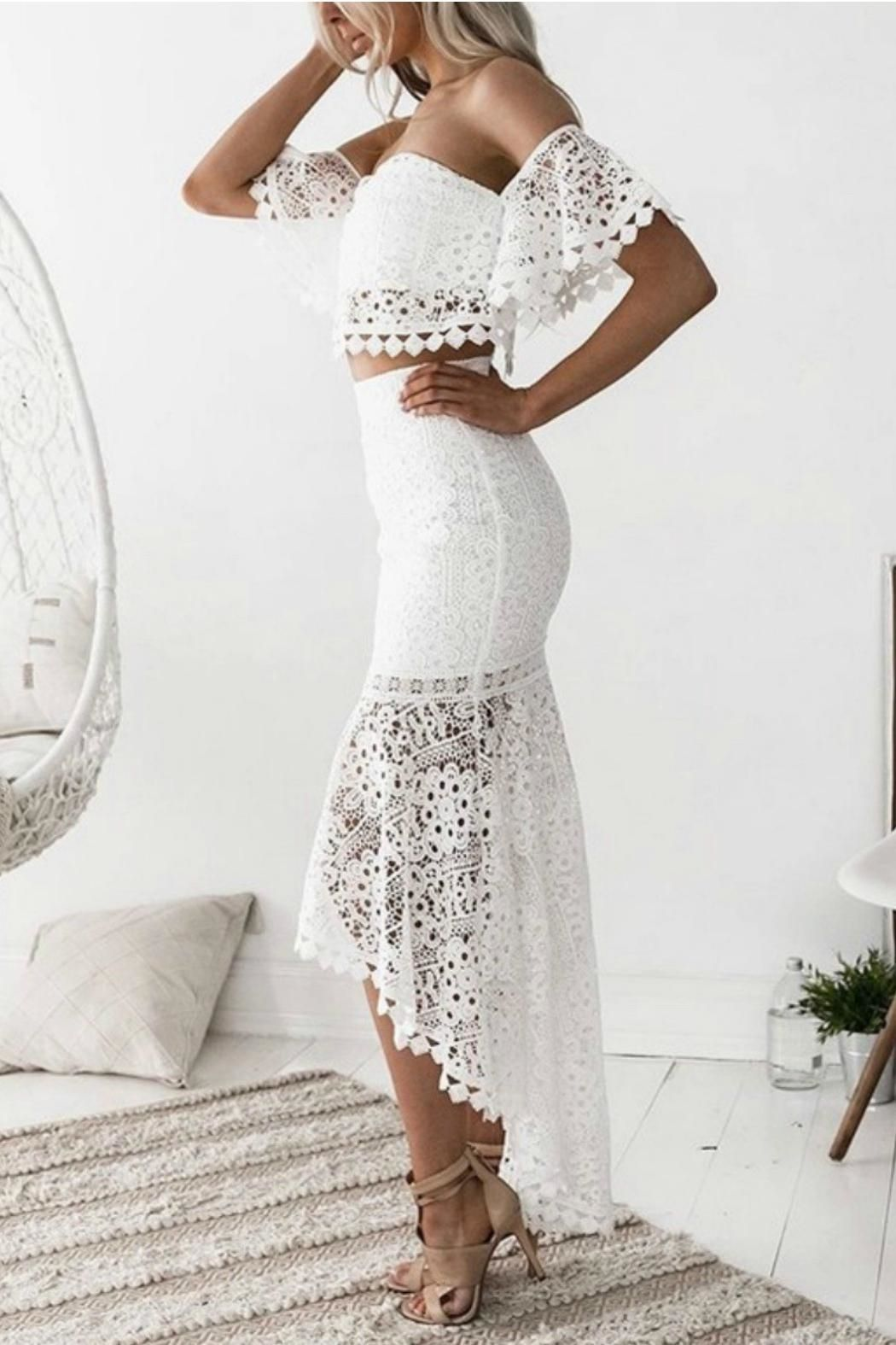 Esley Collection Two Piece Lace Dress Front Full Image White Lace Bodycon Lace Suit Pencil Skirt Casual [ 1575 x 1050 Pixel ]