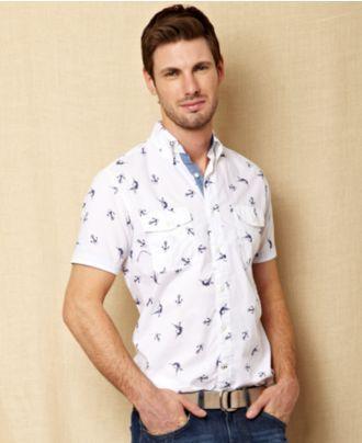 6850bf0d Nautica Shirt, Marlin Short Sleeve Anchor Print Shirt - Mens Polos & Shirts  - Macy's