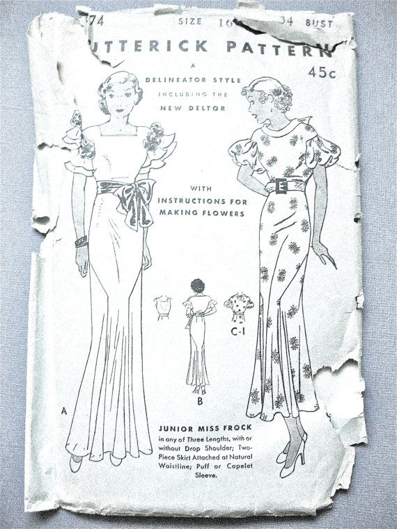 1930s Evening Gown Vintage Sewing Pattern Butterick 4874 Delineator ...