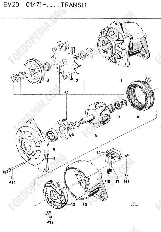 koeln v4/v6 engines (1962-1974) - alternator (essex) - bosch 14v/28a