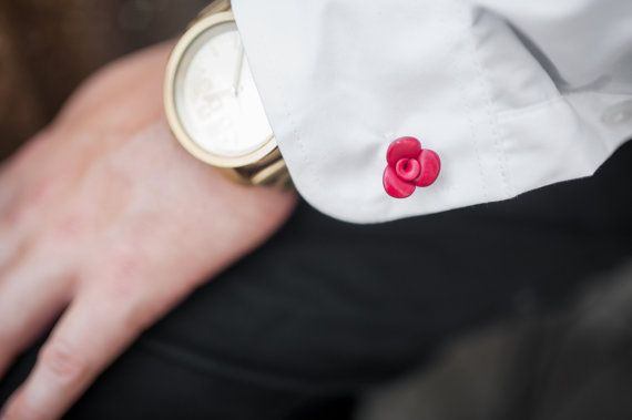 Red Rose Cufflinks many colors Flowers Tie Tack by BijottiCiciotti