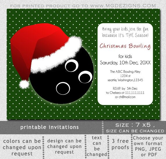 Printable Christmas Bowling Event Holiday Party invitation - bowling invitation