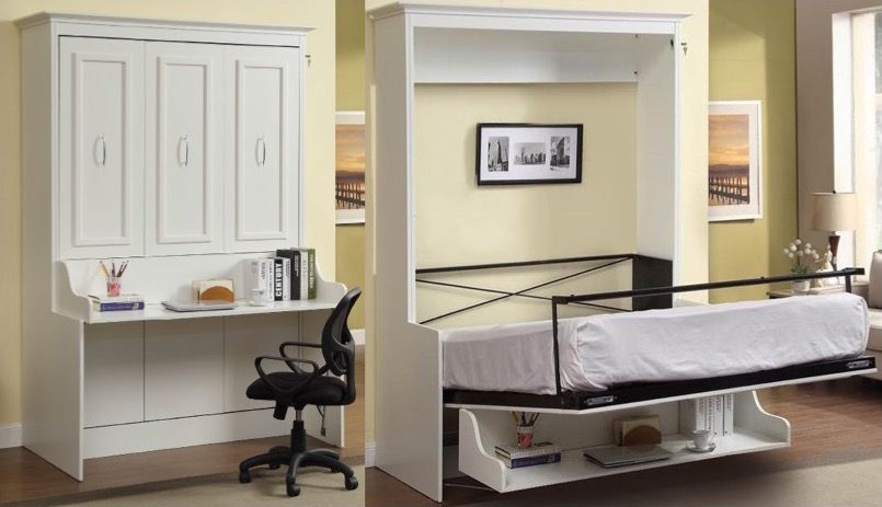 Bookcase, Bed And Dining Table In One Space Saving Unit