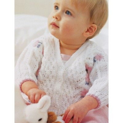 Pretty Lace Baby Cardigan Knitting Pattern from Patons. Delicate cabled cardi...