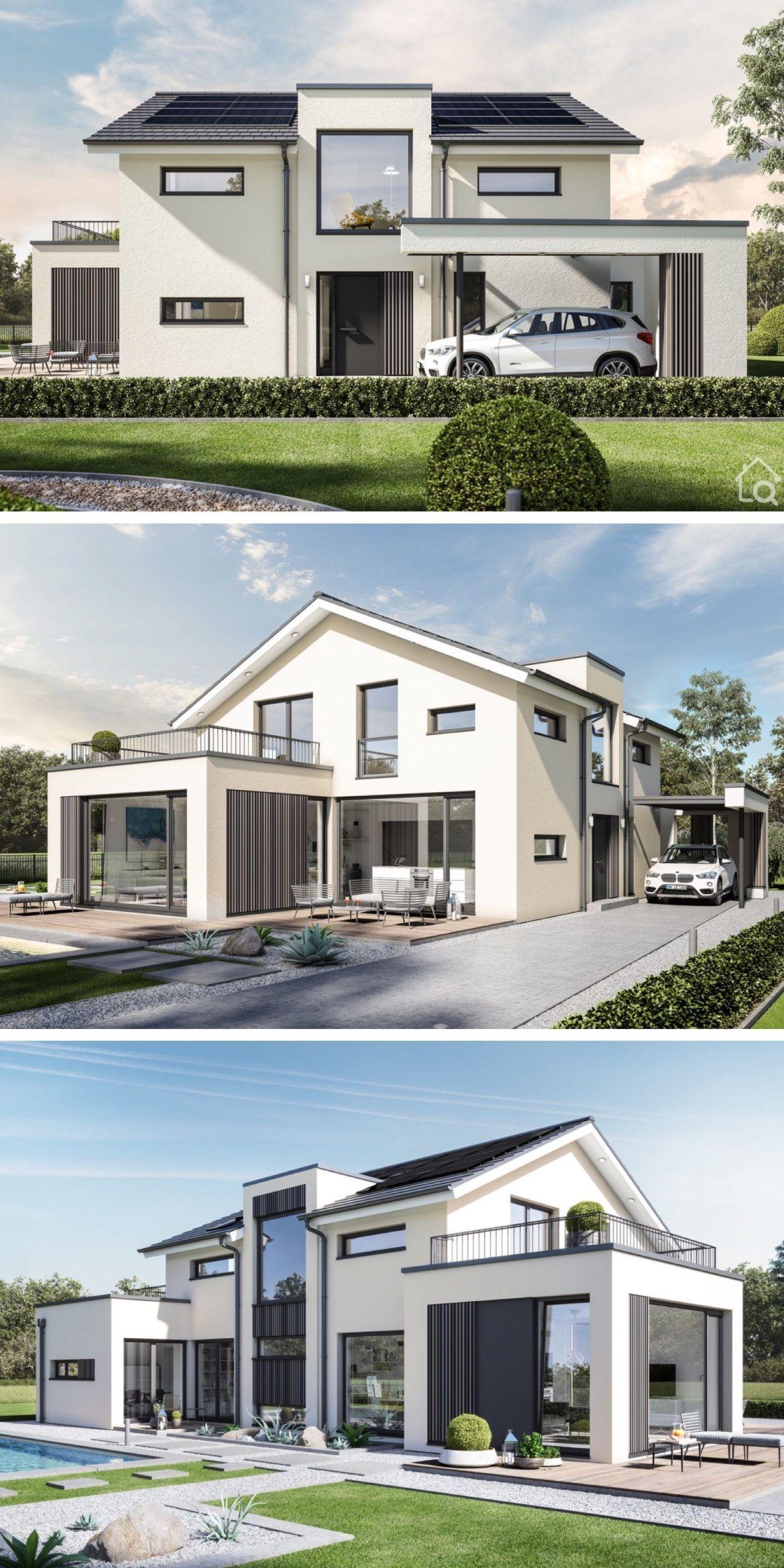 Einfamilienhaus Moderne Konstruktion Mit Satteldach Einfamilienhaus Mit Modernem Neuen In 2020 Architektur Haus Satteldach Modern Haus Design