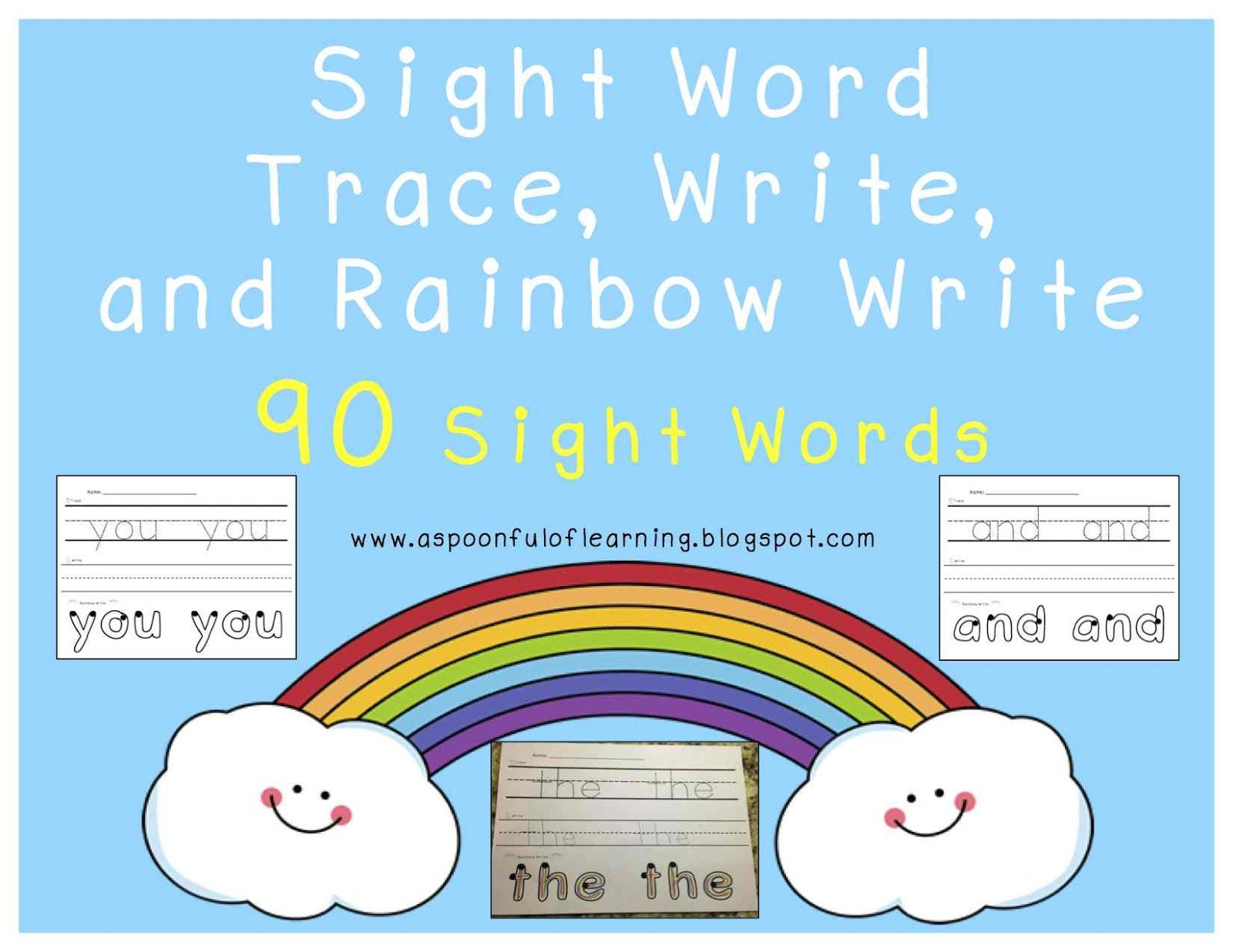 Sight Words Trace Write Rainbow Write 90 Different