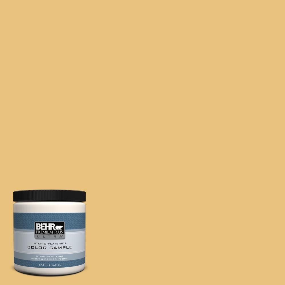 BEHR Premium Plus Ultra 8 oz. #MQ4-13 Golden Thread Satin Enamel Interior/Exterior Paint and Primer in One Sample