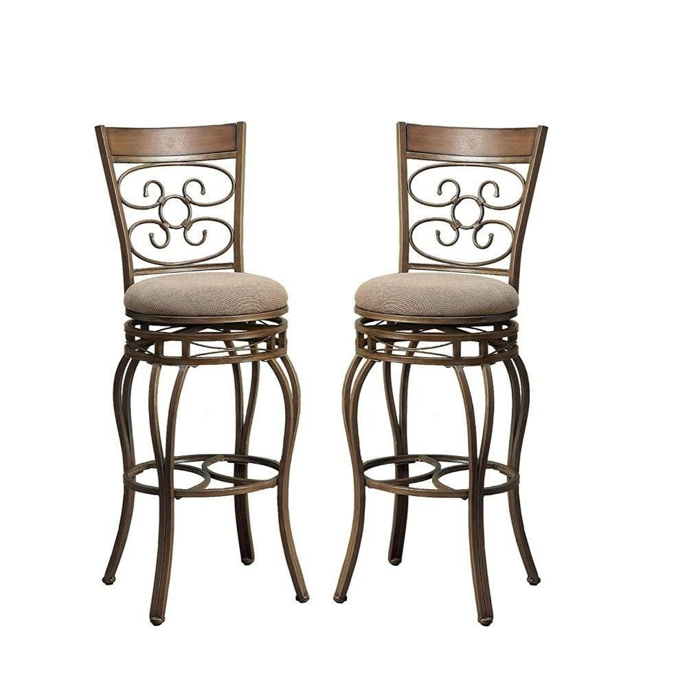 Benjara 29 In Copper Brown Metal Swivel Barstool With Cushion