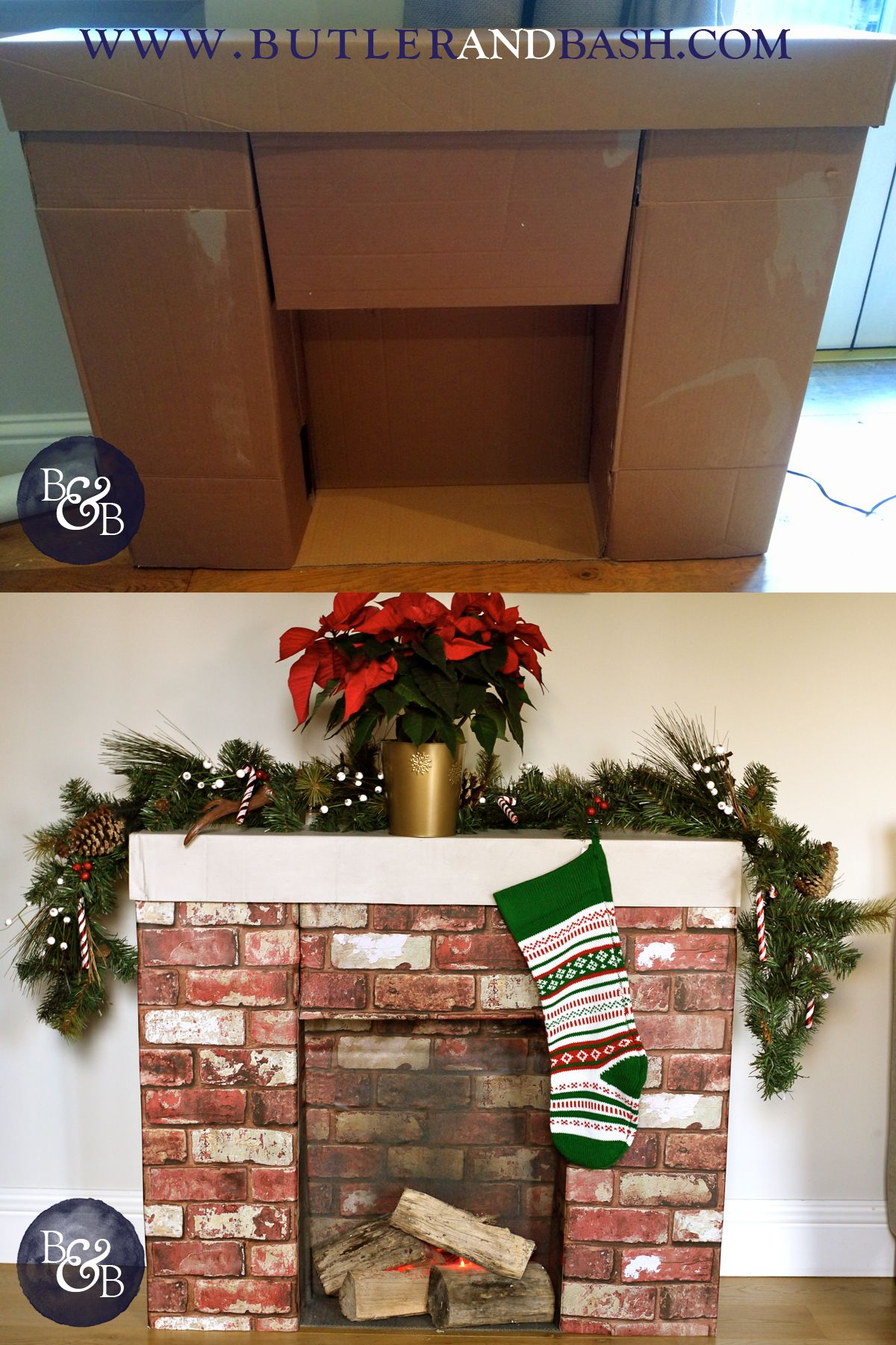 Faux Fireplace made from cardboard boxes. Coved with brick effect wall paper. Red led lights placed between the logos to create a warm glow. Perfect for Santa