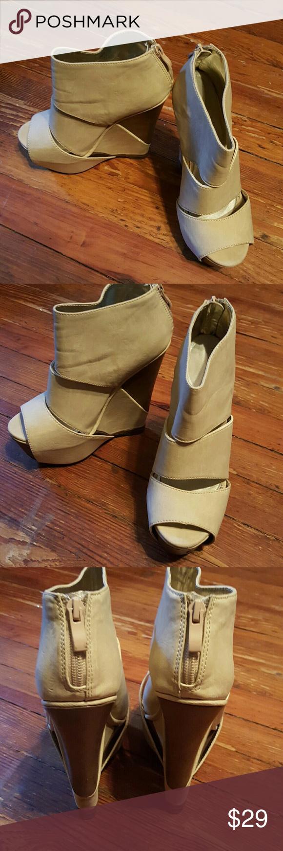 """Vianca"" Platform Wedge Beige platform wedge from ShoeDazzle Shoe Dazzle Shoes Wedges"