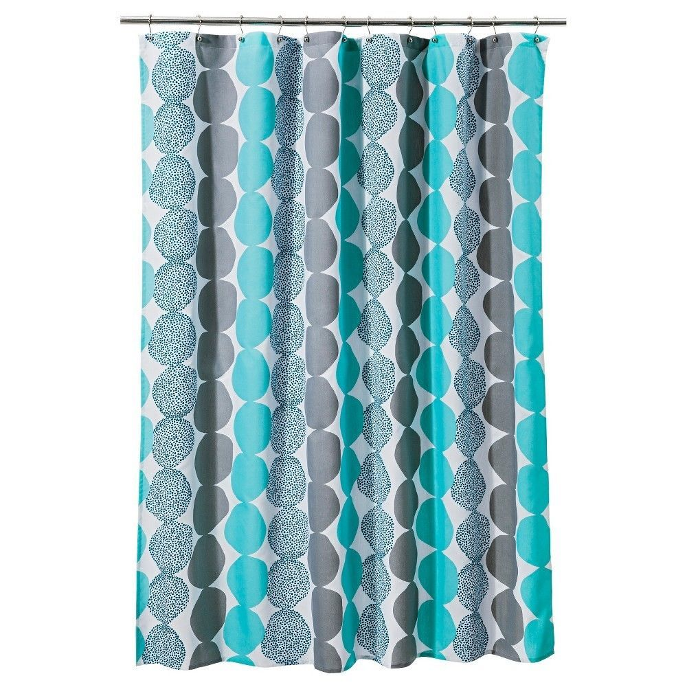 Room Essentials Circle Shower Curtain Turquoise Gray 72 X 72