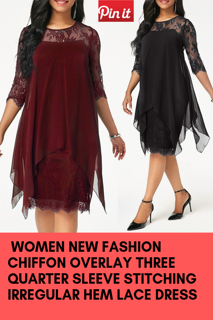 Plus Size Chiffon Dresses Women New Fashion Chiffon Overlay Three Quarter  Sleeve Stitching Irregular Hem Lace Dress e36c37779354