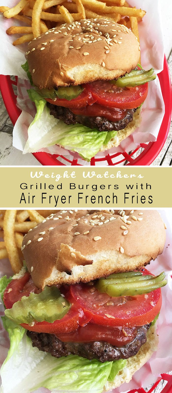 Grilled Burgers with Air Fryer French Fries Recipe