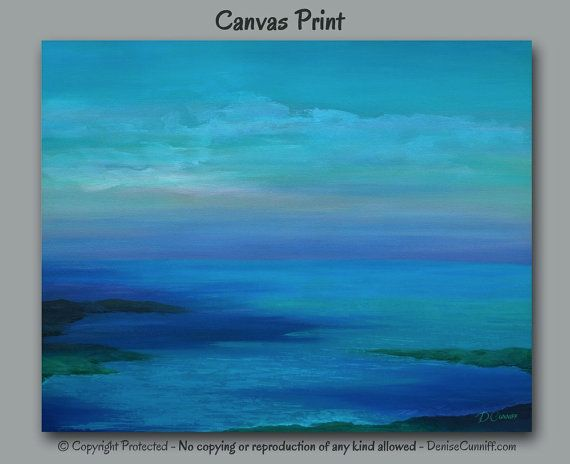 Abstract seascape painting designed for jewel tone home or office decor. Great for beach decor! Artist - Denise Cunniff - ArtFromDenise.com. View more info at https://www.etsy.com/listing/248617812