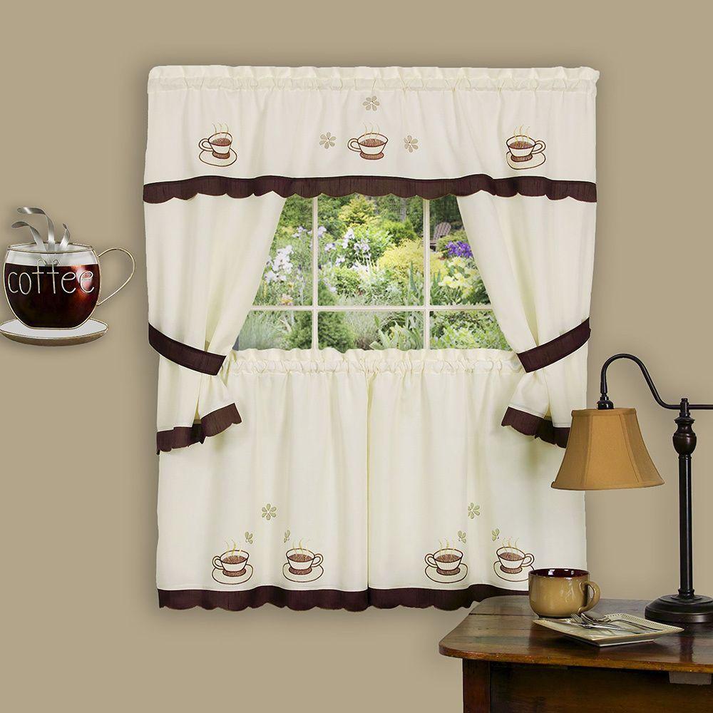 Achim Cuppa Joe Window Curtain Cottage Set 58 X 24 Tiers 36 Topper Brown