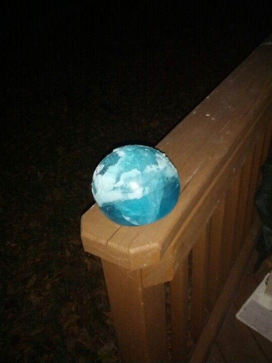 Frozen water balloon w/ food coloring...want to try w/ submersible ...
