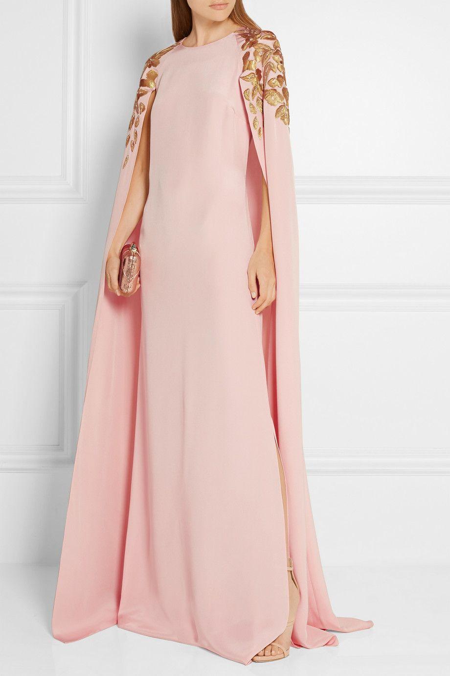 Pastel-pink silk-crepe Concealed hook and zip fastening at back 100 ...