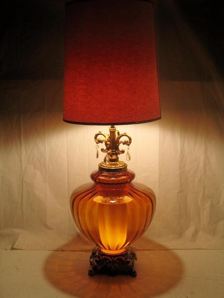 Rare Large 70s E F Industries Brown Blown Glass Globe Brass Patina Table Lamp Lamp Glass Lamp Base Table Lamp