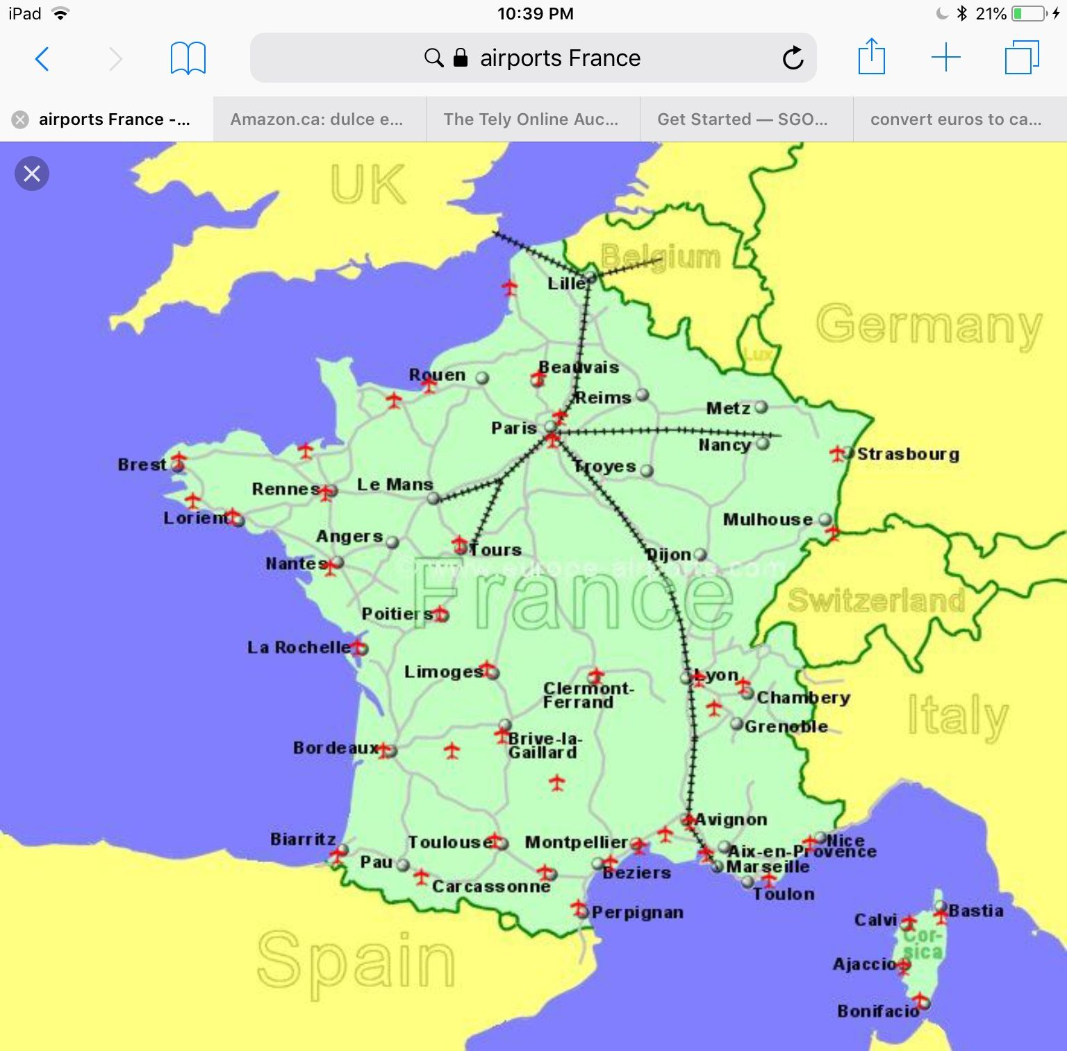 Airports In France Map France Lorient Rouen