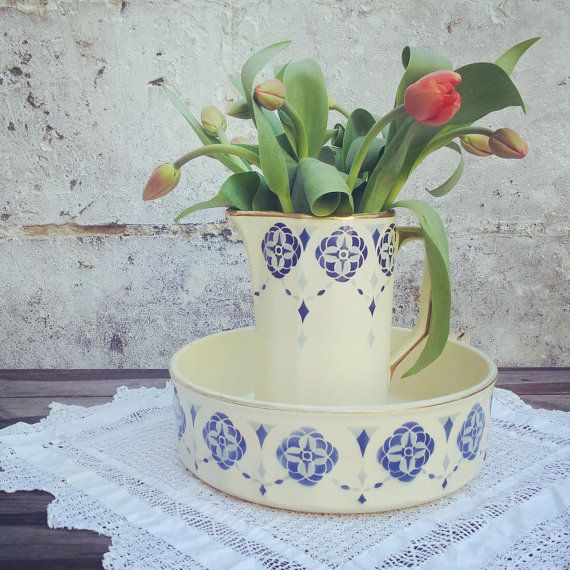 Old French Earthenware Toilet Set Hamage By
