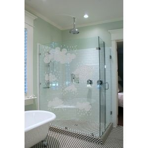 Rain Clouds Frosted Glass Decals Bathroom Design Bathroom