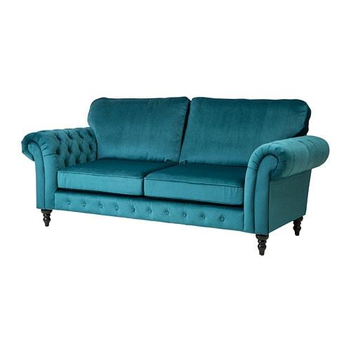Grevie 3 Seat Sofa Velvet Blue Ikea In 2019 Ideas For The House