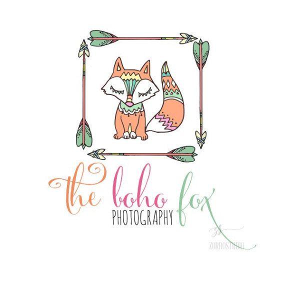 Fox Premade Logo Boho Tribal Kids Babies Party Supplies Decor Gifts Birthday Baby Shower Invite Custom Business