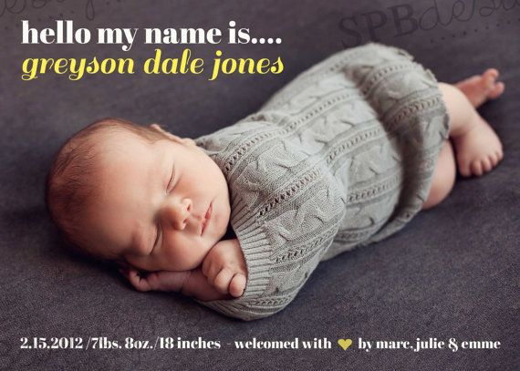Photo Birth Announcement  Boy or Girl  Hello My by sweetpeababy, $16.00