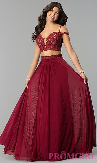 6ce300c2109 Long Two-Piece Off-the-Shoulder Prom Dress