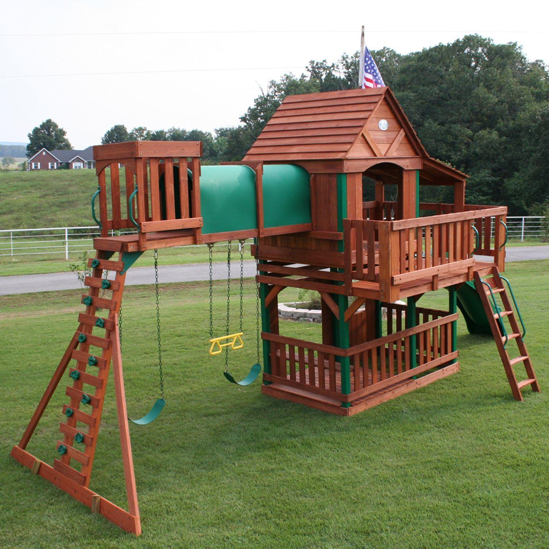 Woodridge Cedar Swing Set With Slide Sam S Club Treehouses