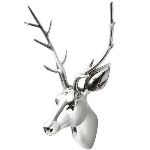 Large & XL Aluminium Wall Mounted Stags Head - Plaque Deer Metal Silver Art New | eBay 119.95