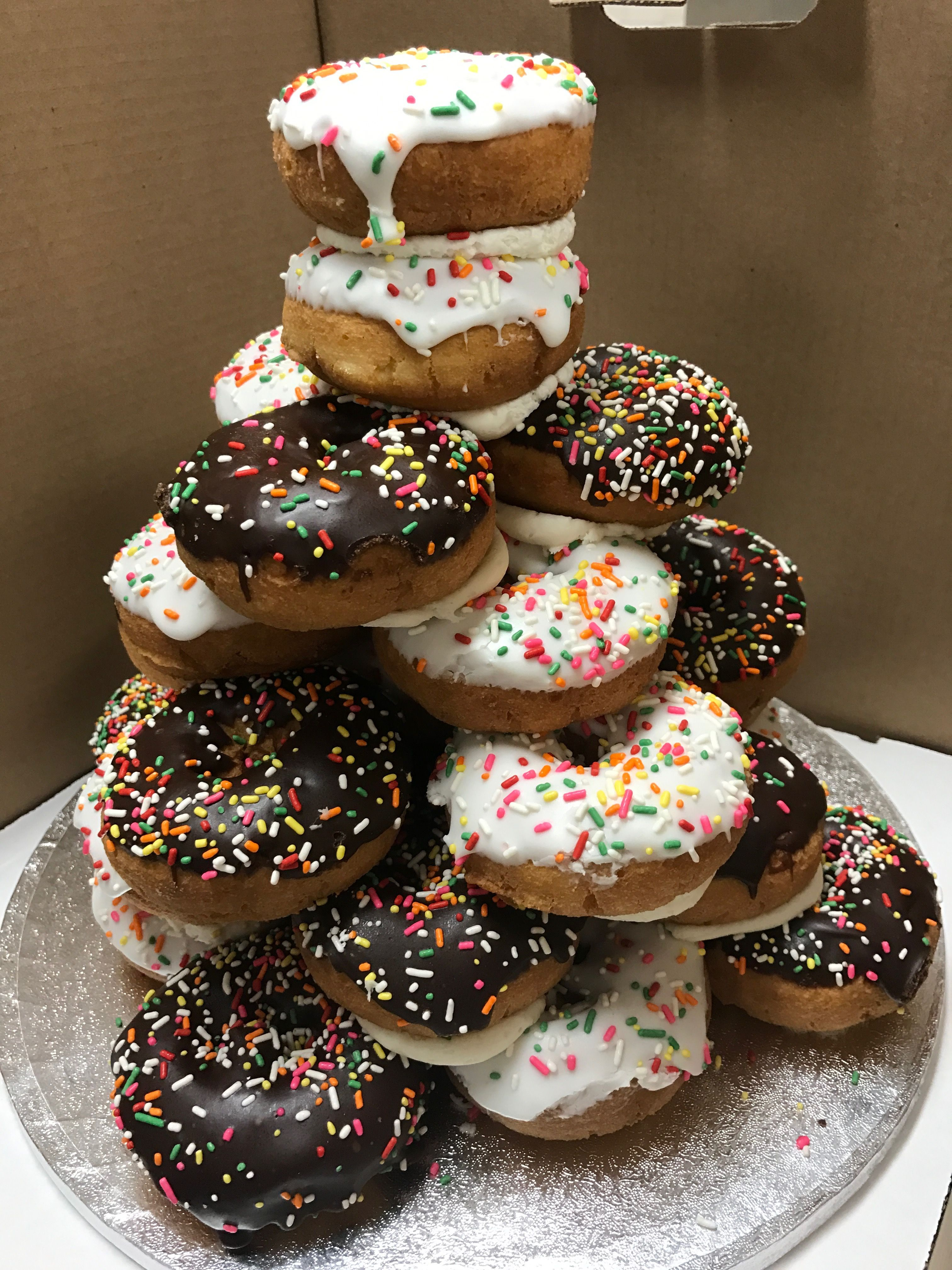Cake donut tower with images cake donuts food donut