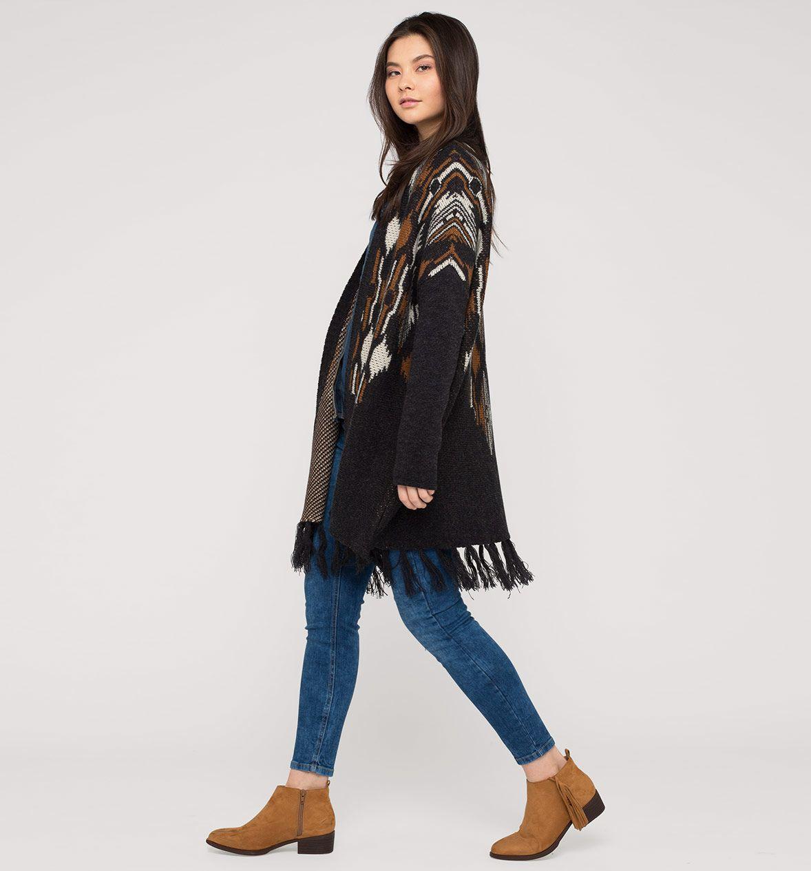 Damen Poncho mit Wolle in orange   schwarz - Mode günstig online kaufen -  C A    90 % Polyacryl 10 % Wolle 6505886160