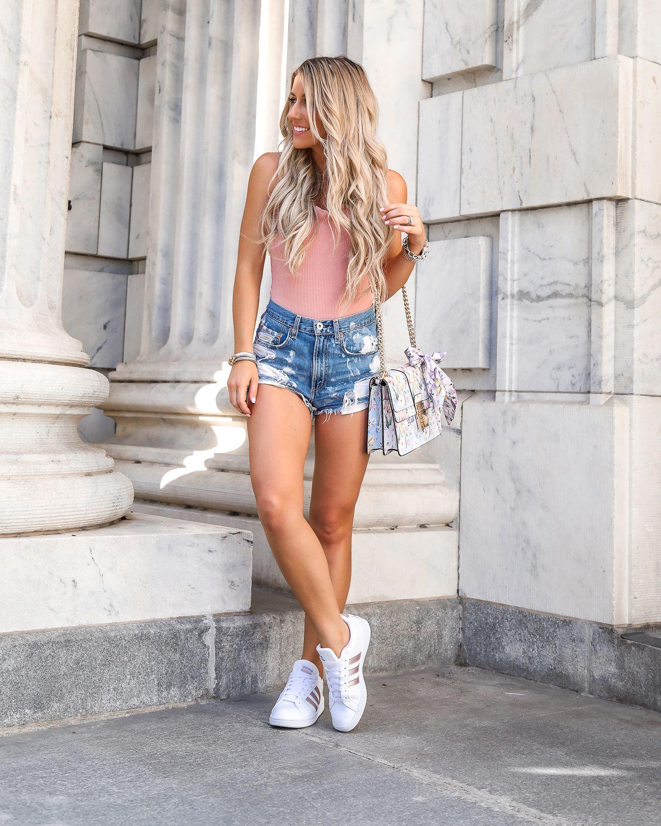dd0602398f6 Casual Summer Outfit Rose Gold Adidas Cloudfoam Advantage Rag   Bone  Justine High-Rise Distressed Denim Shorts