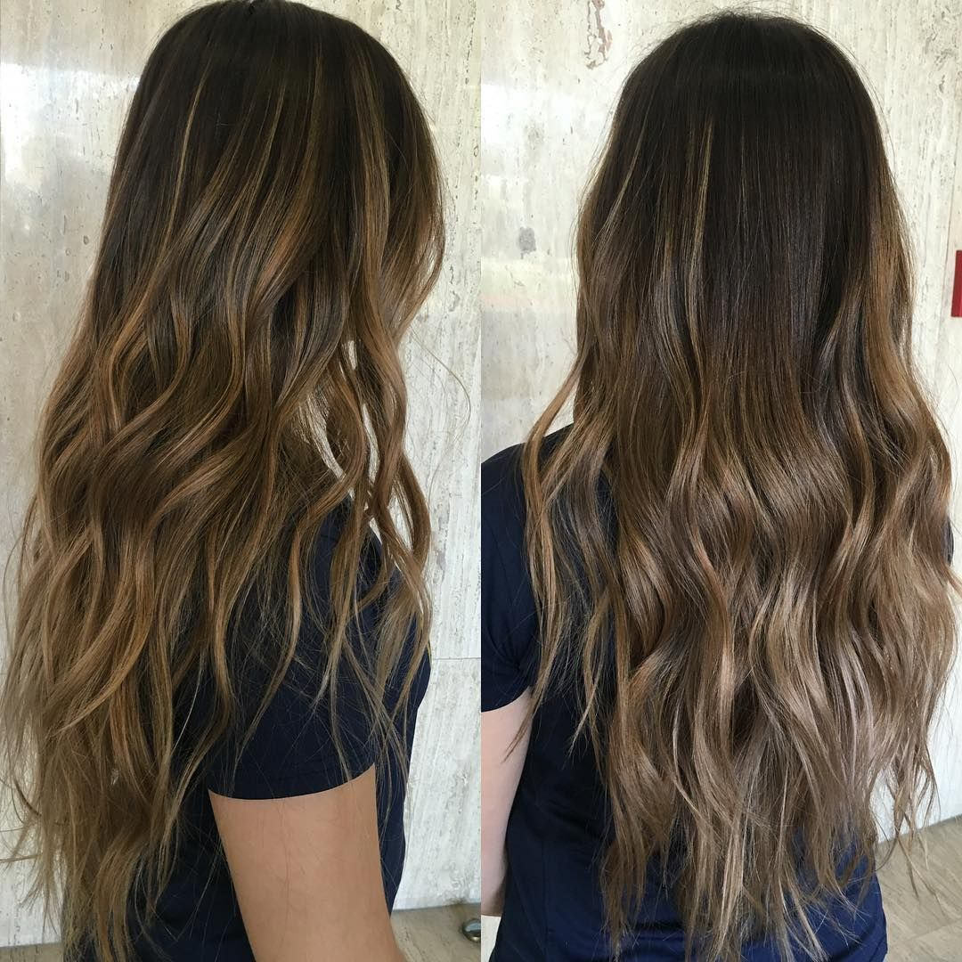 Textured Ash Highlights Hair Balayage Straight Hair
