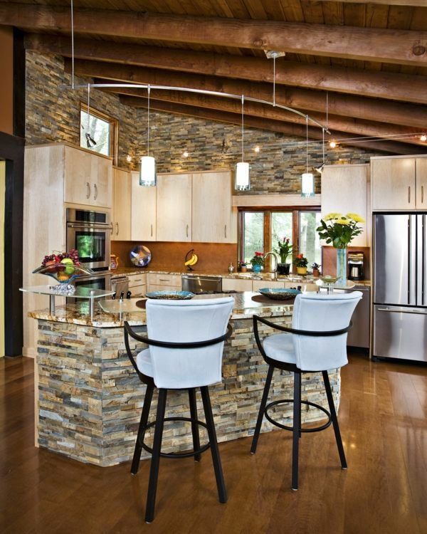 Stylish stone kitchen designs | Stone kitchen, Stone kitchen island ...