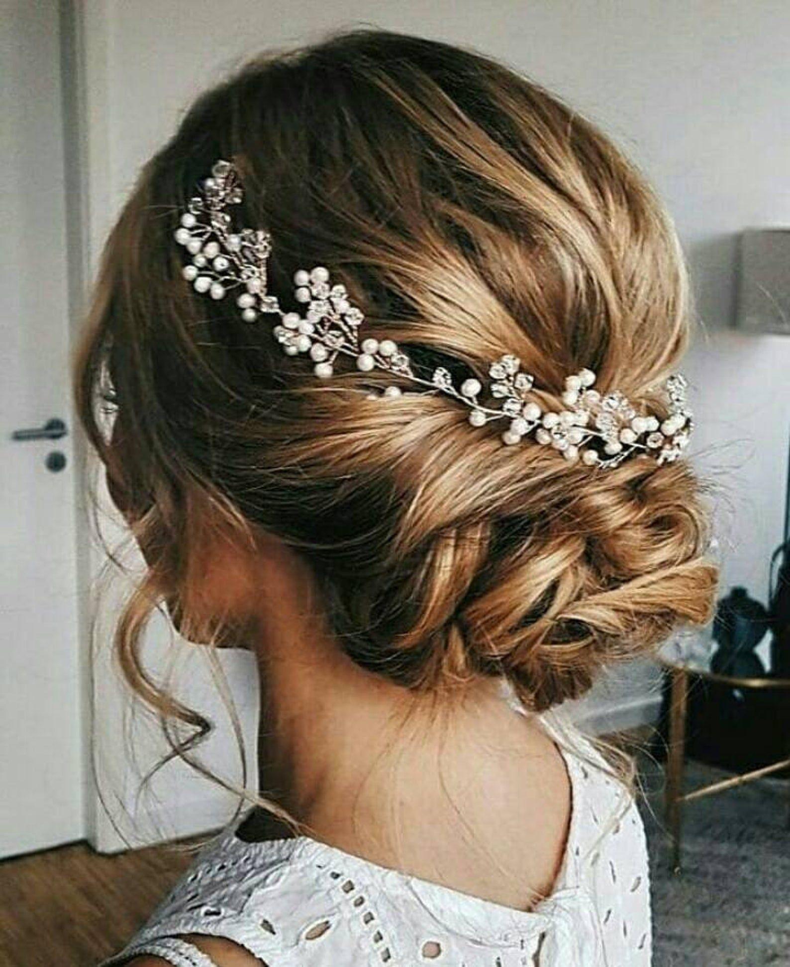 Bridal Hair Vine Beach Wedding Hair Piece Bridal Hair Etsy In 2020 Beach Wedding Hair Bridesmaid Hair Accessories Hair Vine Wedding