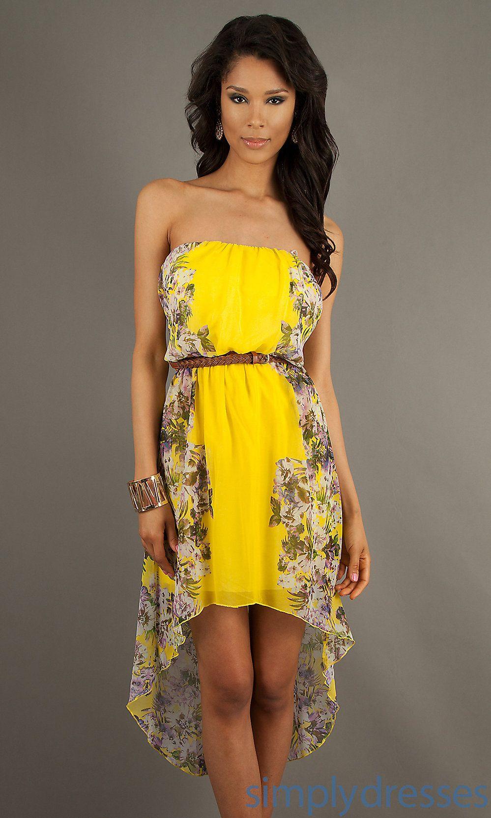Dress strapless high low print dress simply dresses