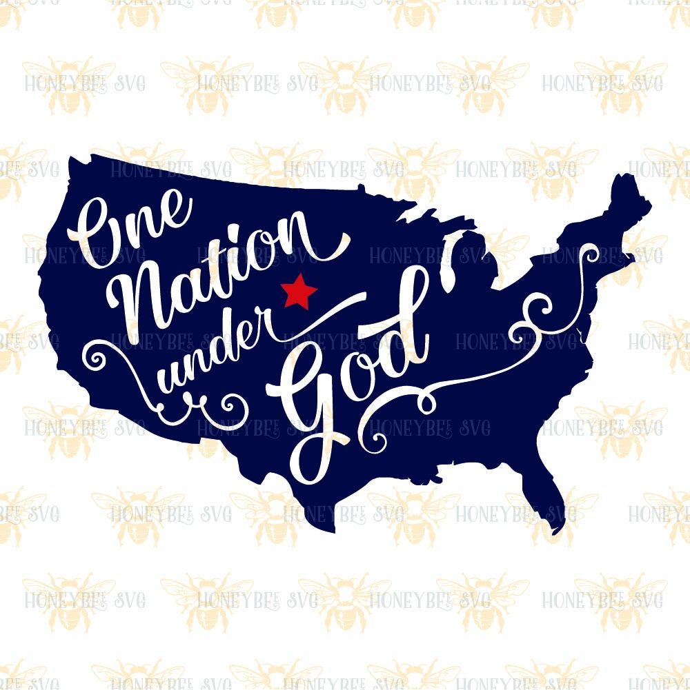 One Nation Under God Map Svg Patriotic Svg America Svg July Th - Outline of us map svg