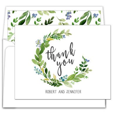 Arched Greens Foldover Note Cards
