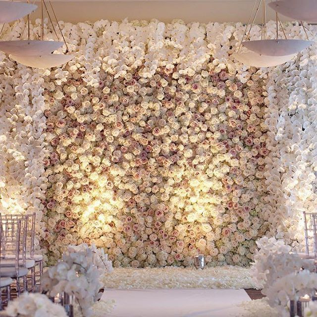 Luxury Wedding Reception With A Perfect And Awesome: Stunning Flower Wall Floral Detail Backdrop Wedding Photos