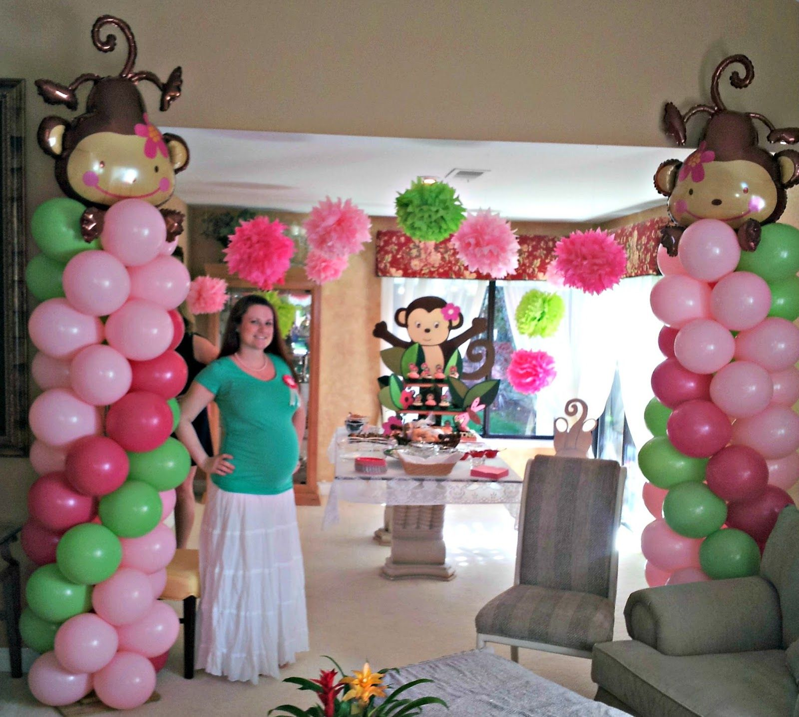 Chic And Unique Parties Girl Monkey Baby Shower Girl Baby Showers