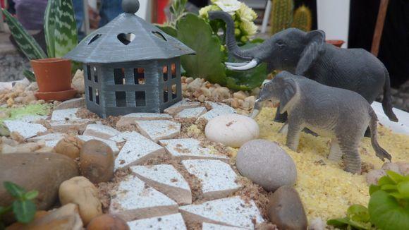 Miniatyyripuutarhoissa voi käyskennellä eläimiä toisilta mantereilta.