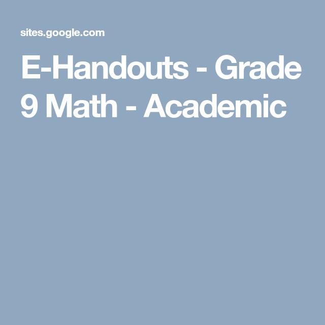 E-Handouts - Grade 9 Math - Academic | Math | Pinterest | Math
