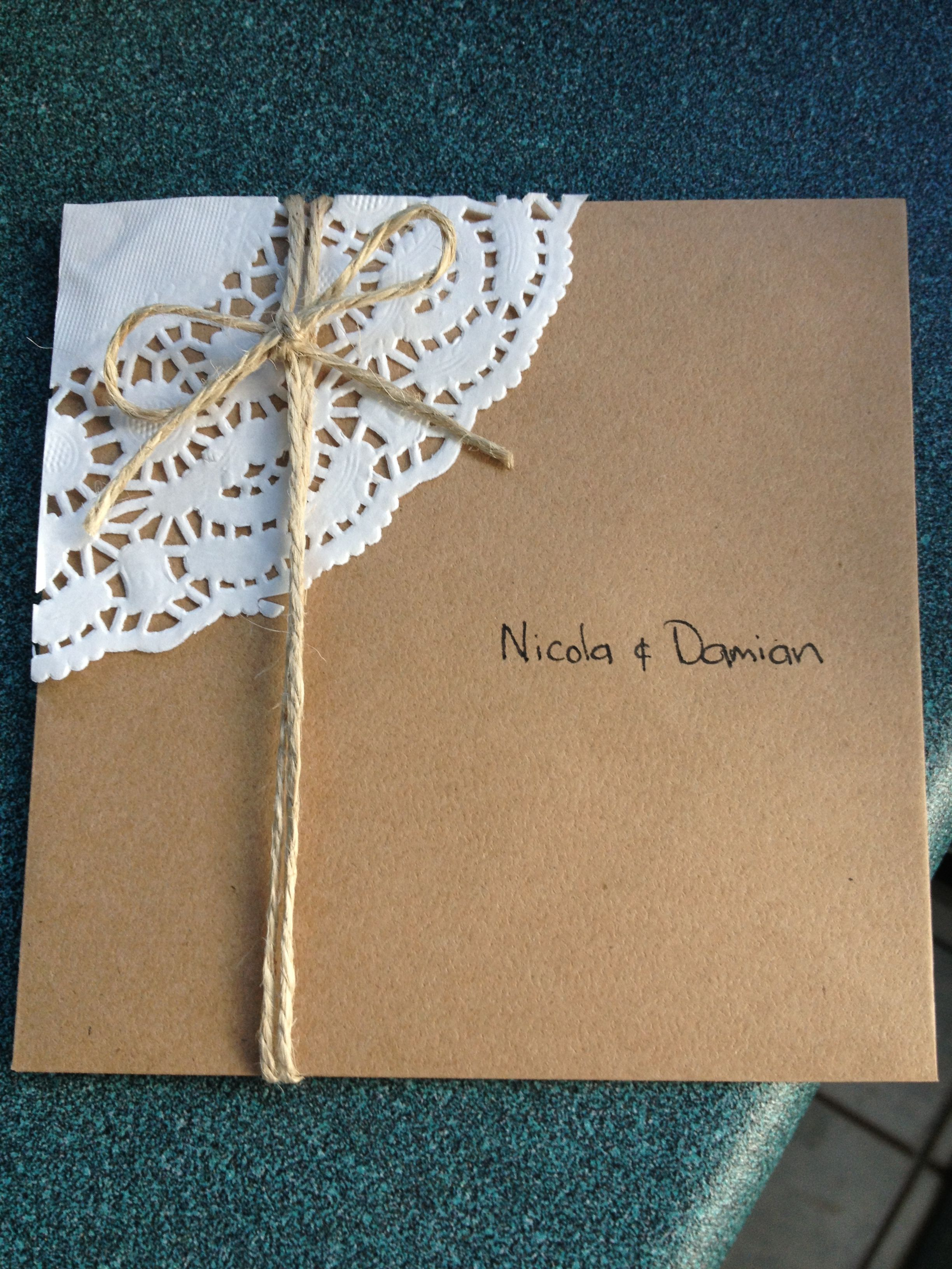 My Very Own Home Made Wedding Invitations Made With Love
