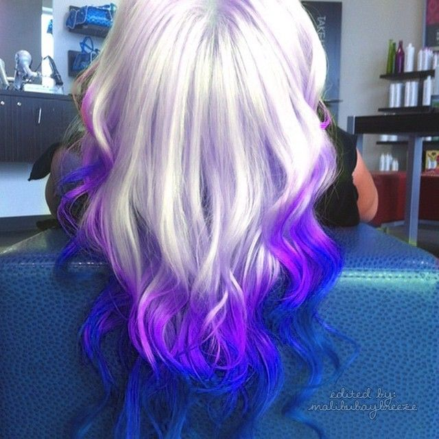 Light Purple To Purple With Blue Tips Of Hair Dyed Color Colour